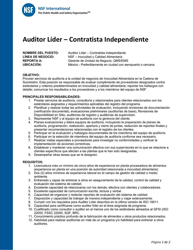 Auditor Líder – Contratista Independiente