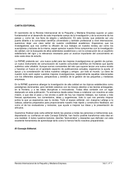 Carta editorial - revista internacional pyme