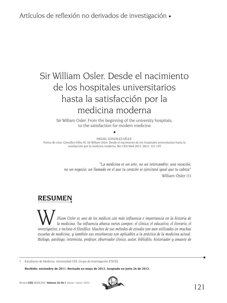 Sir William Osler Desde El Nacimiento De Los Hospitales