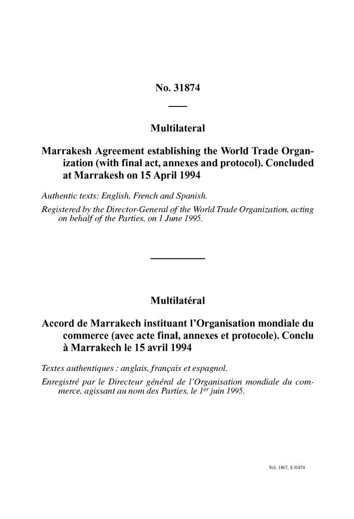 No 31874 Multilateral Marrakesh Agreement Establishing The World