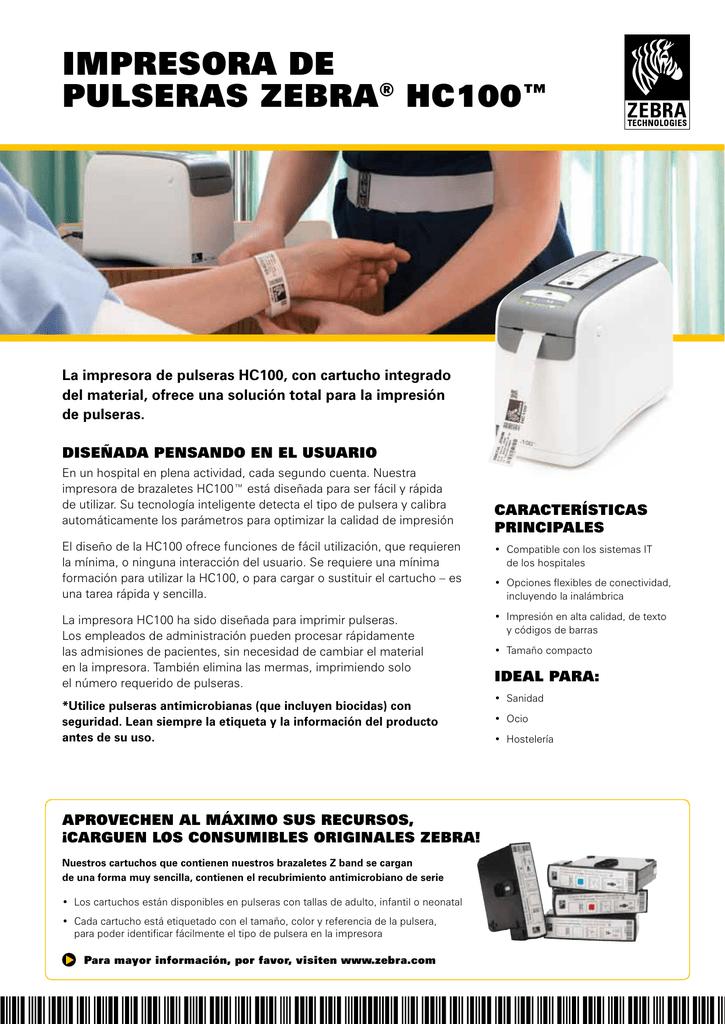 f94bc5f58dd3 impresora De pulseras Zebra® HC100