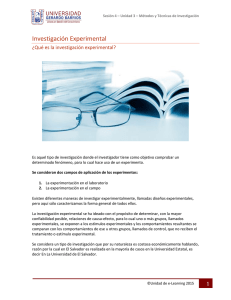 Investigación Experimental... - E-learning Universidad Gerardo Barrios