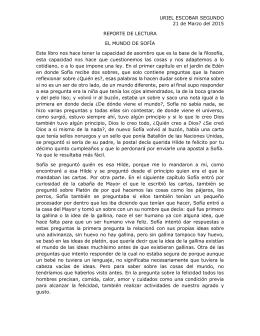 FICHA BIBLIOGRÁFICA Título: EL MUNDO DE SOFÍA Autor