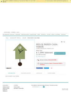 RELOJ PARED CASA VERDE $ 4.990 Internet