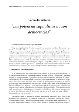Las potencias capitalistas no son democracias