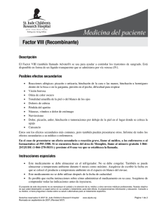 Factor VIII (Recombinante) - St. Jude Children`s Research Hospital