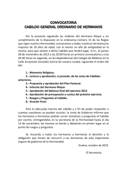 CONVOCATORIA CABILDO GENERAL ORDINARIO DE HERMANOS