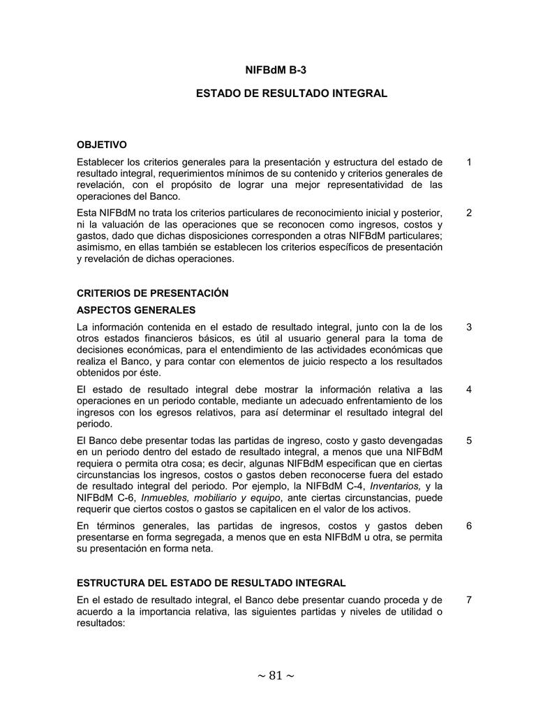 Nifbdm B 3 Estado De Resultado Integral