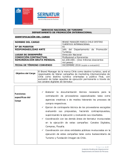 PERFIL DEL CARGO Brand Manager Marca Chile