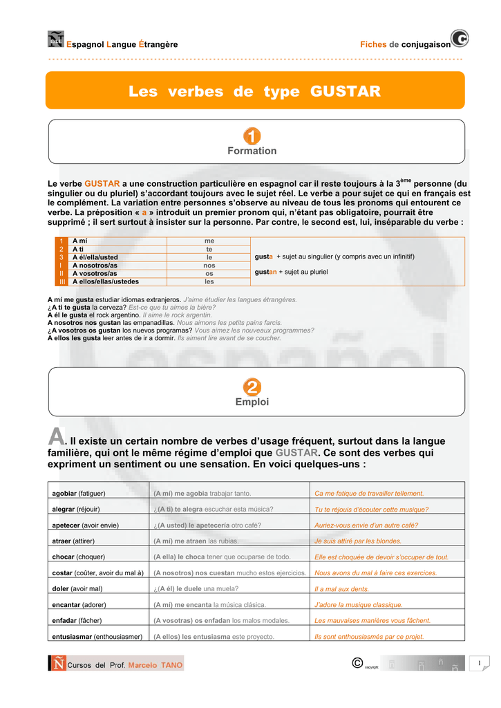 Fiche De Conjugaison Pages Personnelles Du Pr Marcelo Tano