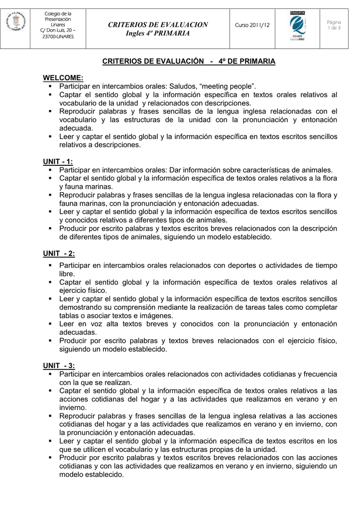 Criterios De Evaluacion Ingles 4º Primaria Criterios De