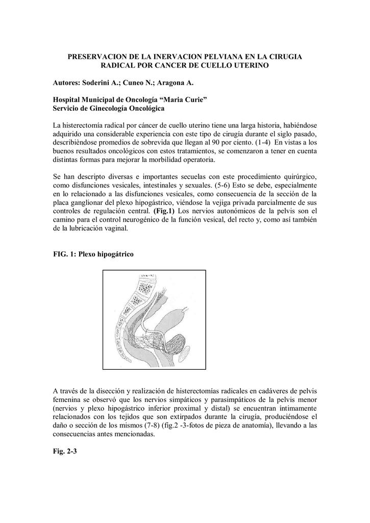 Preservación de plexos nerviosos en histerectomía