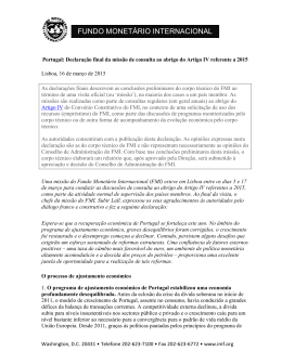 Artigo IV do FMI para Portugal