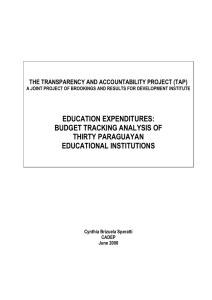 education expenditures: budget tracking analysis of thirty