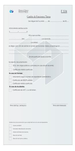 f534 formulario cambio de funciones