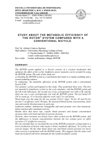 STUDY ABOUT THE METABOLIC EFFICIENCY OF THE ROTOR