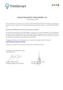 HECHO RELEVANTE THINK SMART, S.A.