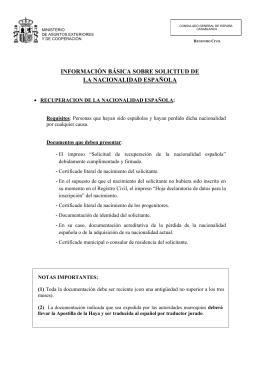 Informaci n b sica sobre solicitud de la nacionalidad espa ola for Registro viajeros ministerio exteriores
