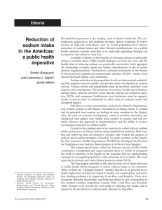 Reduction of sodium intake in the Americas: a public health imperative