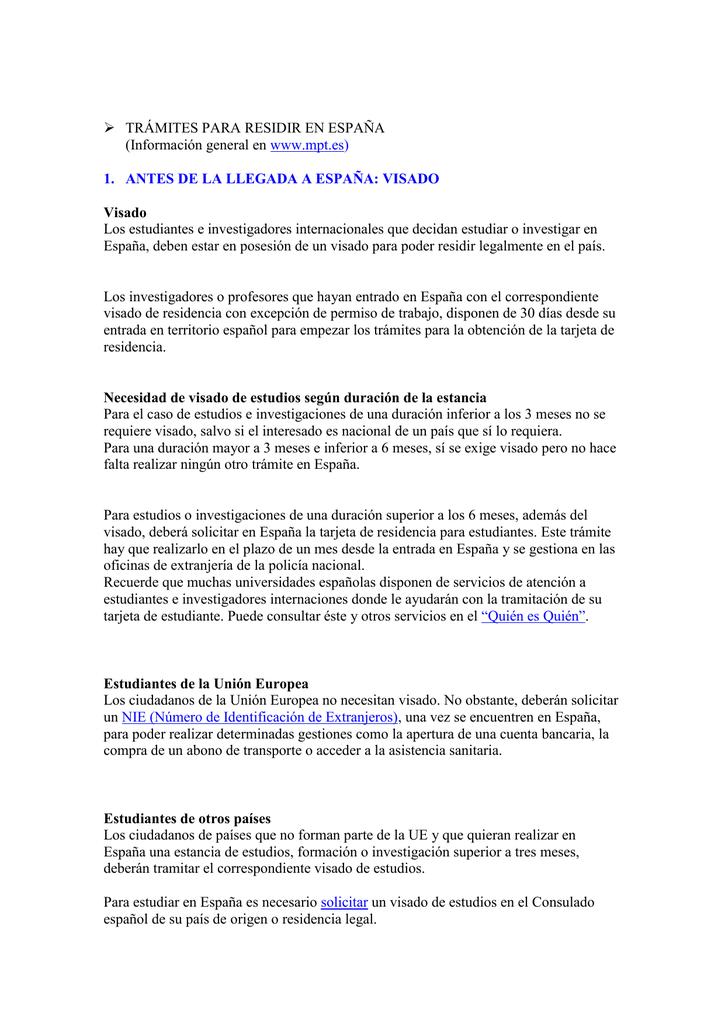 Tramites Para Residir En Espana Universidad Pontificia Comillas