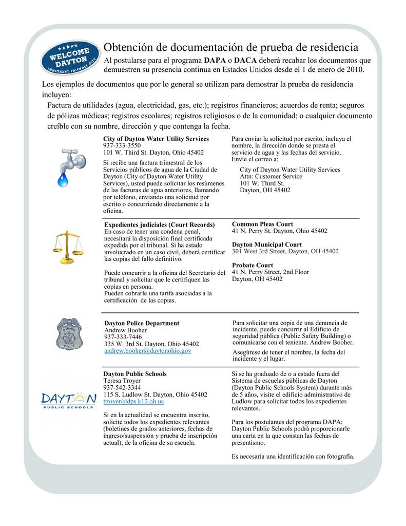 Obtención de documentación de prueba de residencia