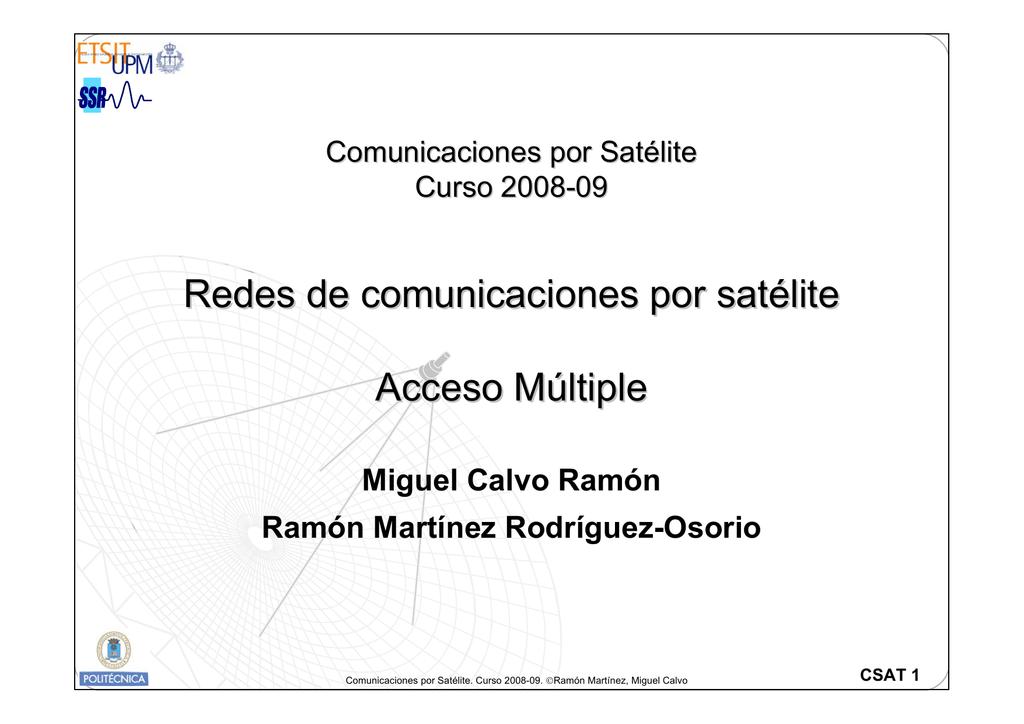 Redes de comunicaciones por satélite Acceso Múltiple