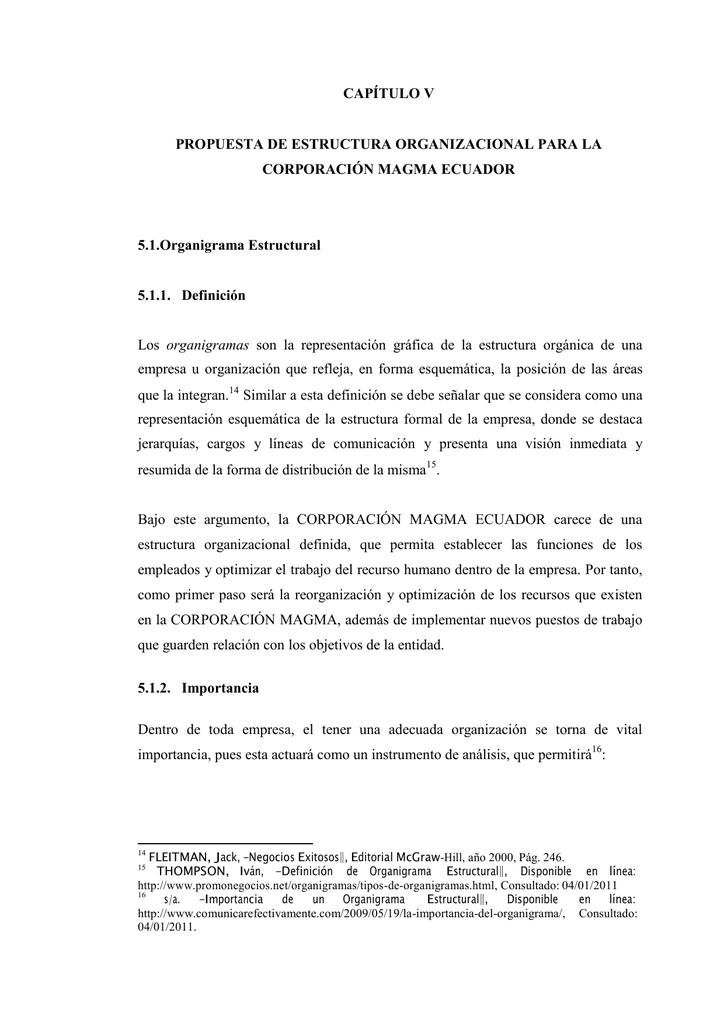 Capítulo V Propuesta De Estructura Organizacional