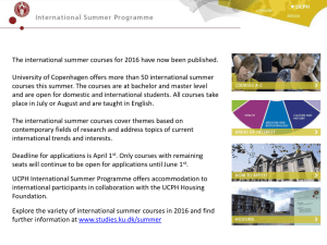 The international summer courses for 2016 have now been