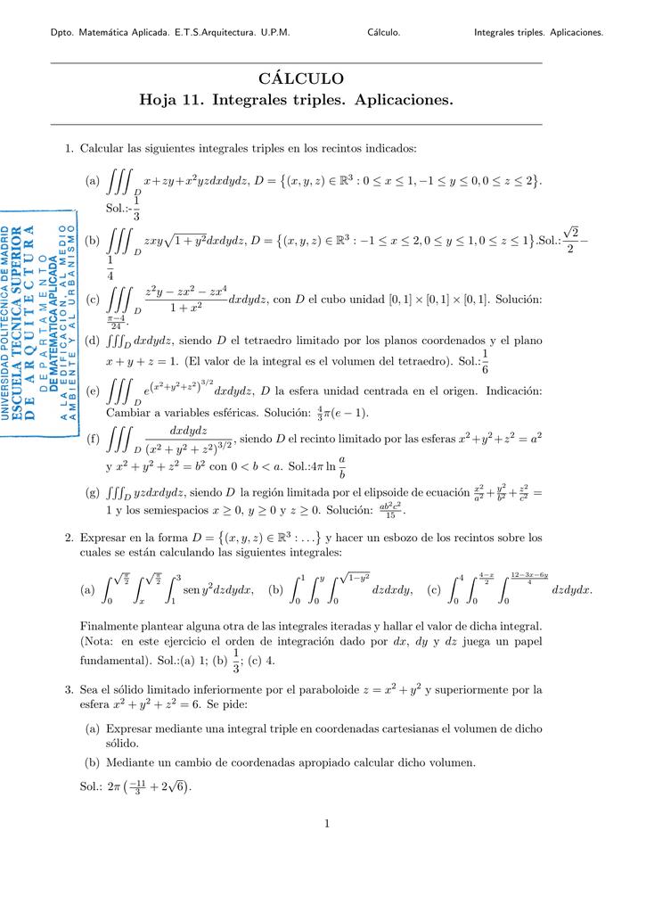 Hoja 11. - Departamento de Matemática Aplicada ETS de Arquitectura
