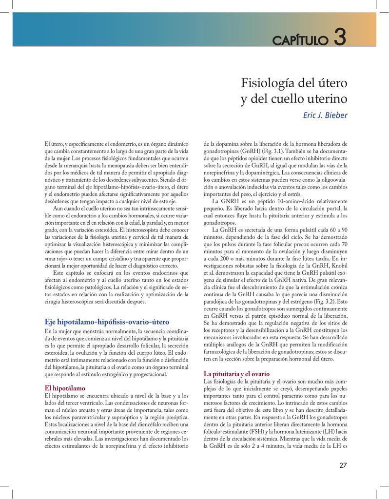 Fisiología del útero y del cuello uterino