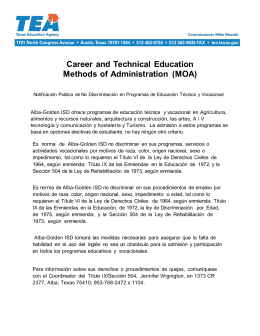 Career and Technical Education Methods of Administration (MOA)