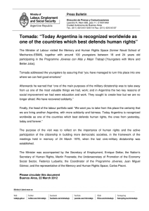 "Tomada: ""Today Argentina is recognized worldwide a..."""
