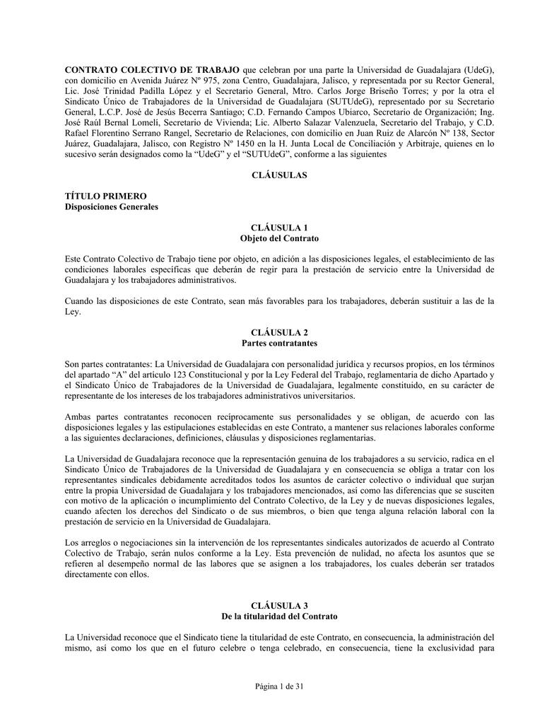 Contrato Colectivo de Trabajo SUTUDG 2004