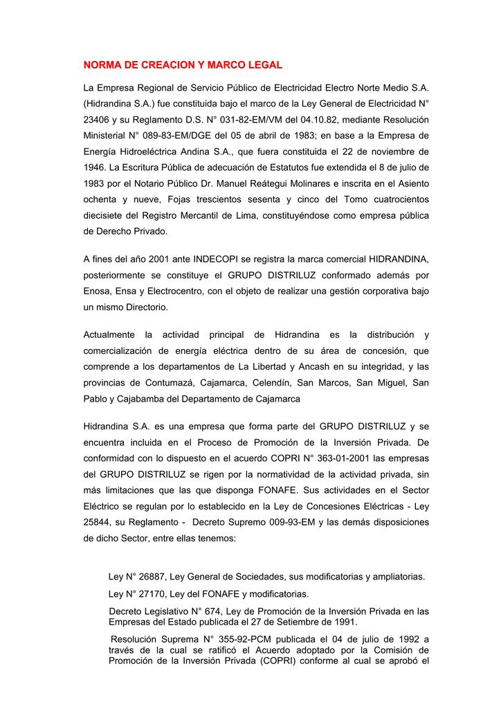 Norma De Creacion Y Marco Legal