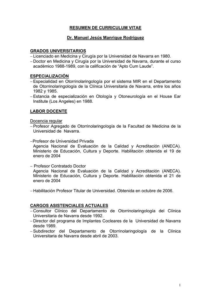 Atractivo Sección Resumen De Curriculum Universitario Ideas - Ideas ...
