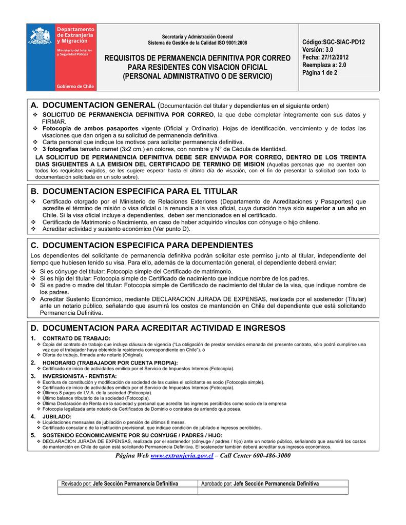 PD12 Residente Oficial Administrativo o Servicio