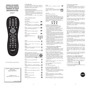 MANUAL DE USUARIO DEL CONTROL REMOTO