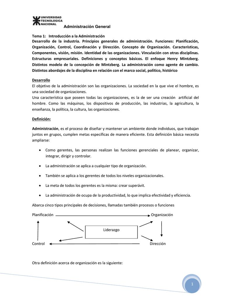 Administración General 1 Tema 1: Introducción a la Administración