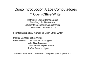 Curso Introducción A Los Computadores Y Open Office Writer