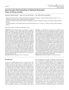 Spectroscopic Determination of Optimal Hydration Time of Zircon