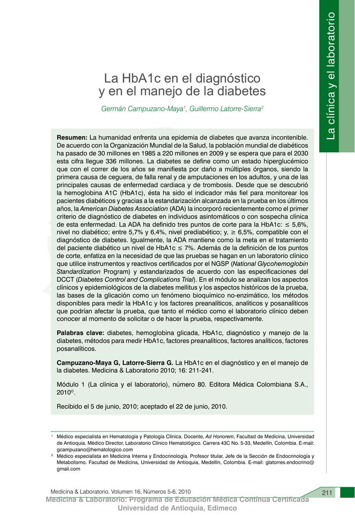 uso de hba1c en el diagnóstico de diabetes mellitus en el reino unido