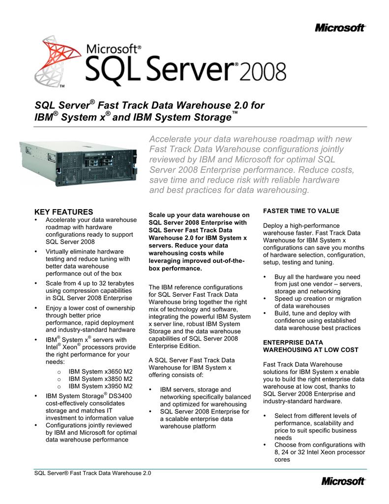SQL Server® Fast Track Data Warehouse 2 0 for IBM