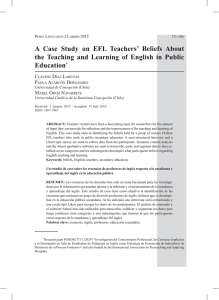 A Case Study on EFL Teachers` Beliefs About the Teaching and