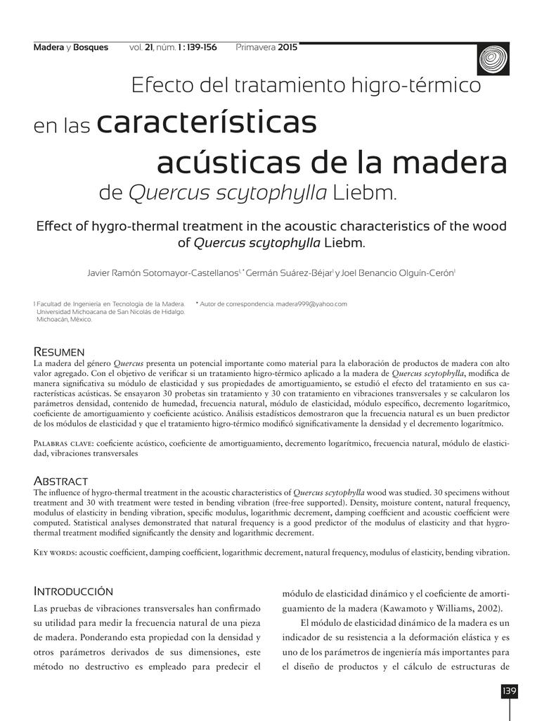 En Las Características Acústicas De La Madera