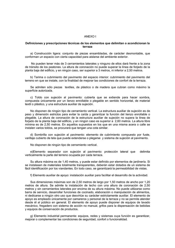 Anexo I Definiciones Y Prescripciones Técnicas De Los Elementos