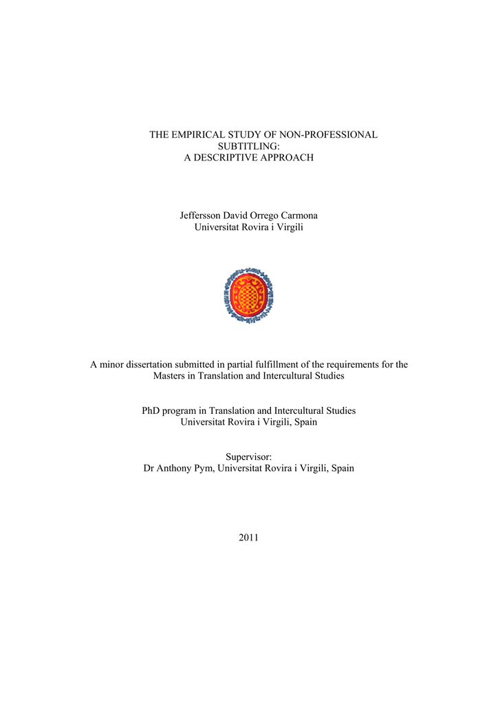 Minor dissertation here - Intercultural Studies Group