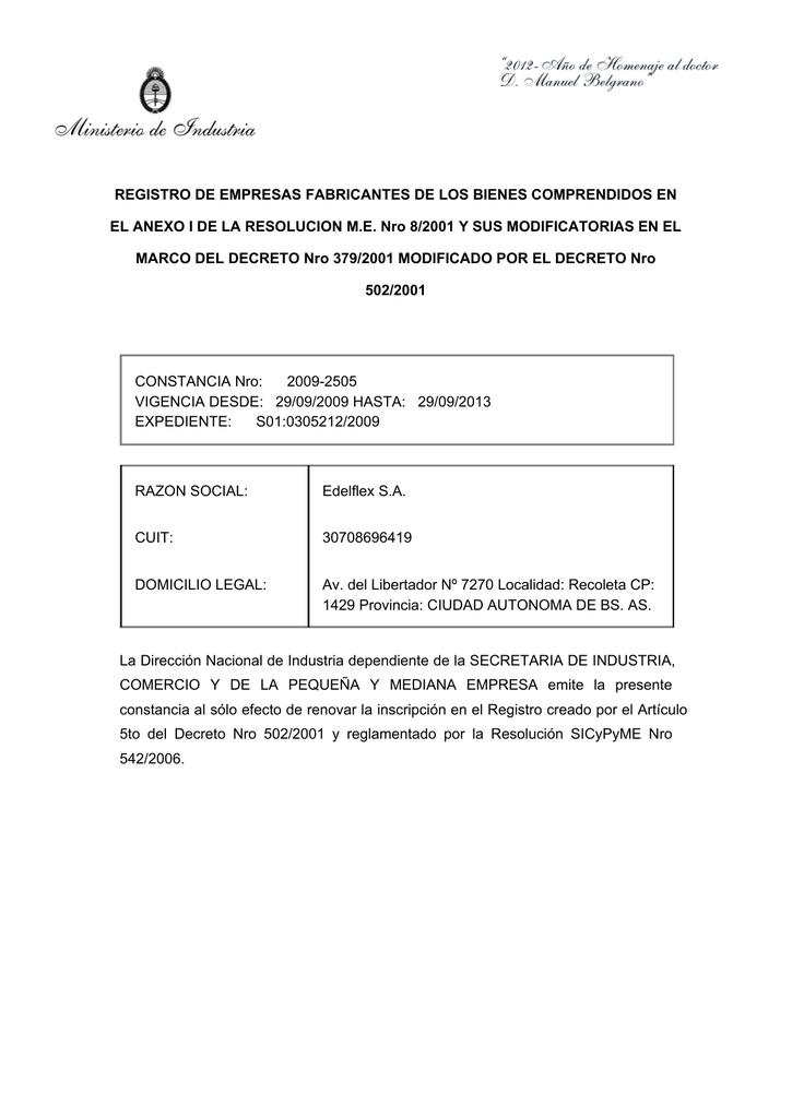 Registro De Empresas Fabricantes De Los Bienes