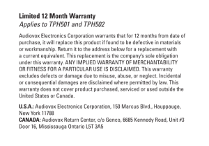 Limited 12 Month Warranty Applies to TPH501 and TPH502
