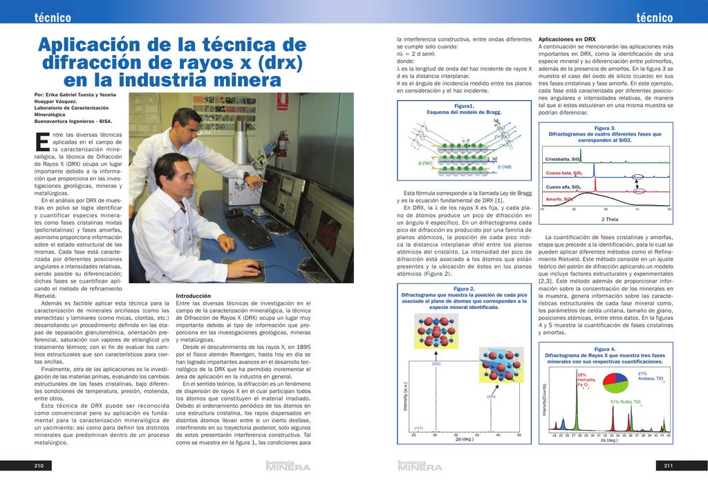 Aplicacion De La Tecnica De Difraccion De Rayos X Drx En La Industria