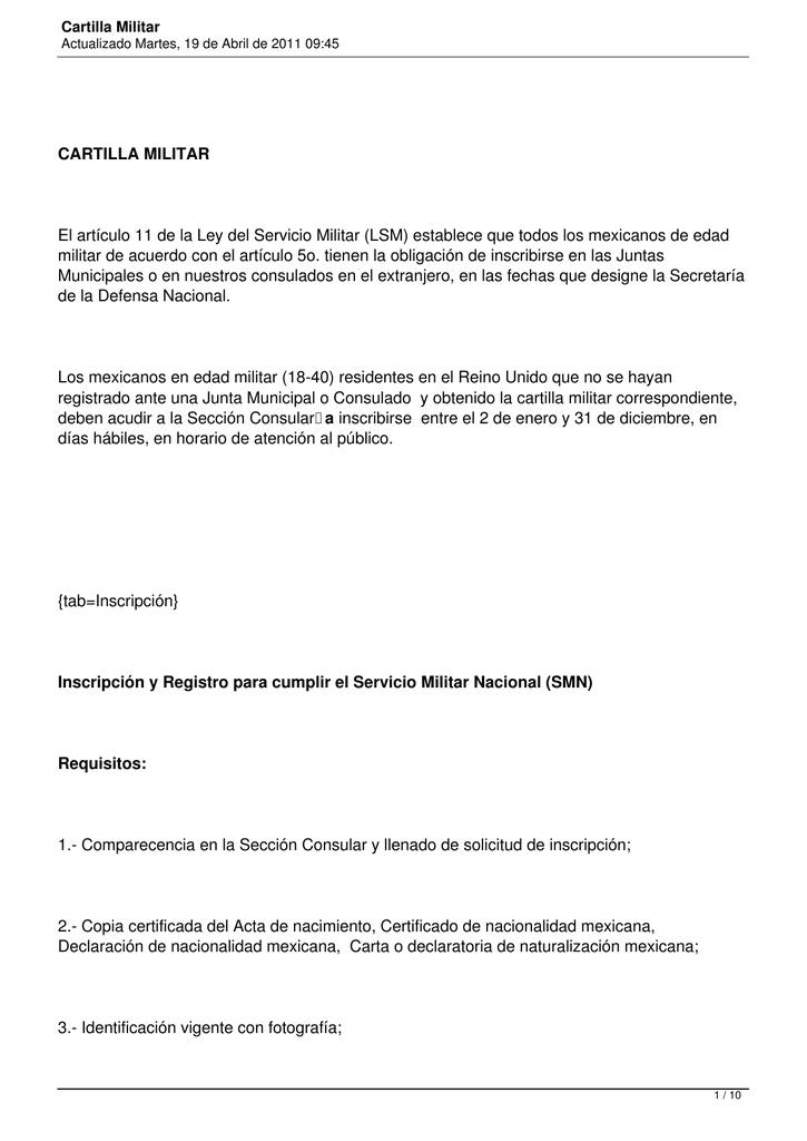 Cartilla Militar - Secretaría de Relaciones Exteriores